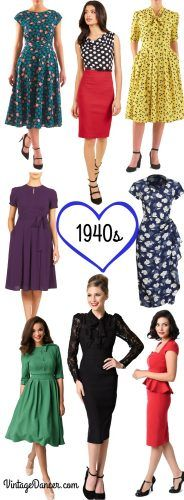 Love these 1940s dresses! Casual, swing dance, pinup, party dresses and more at VintageDancer.com