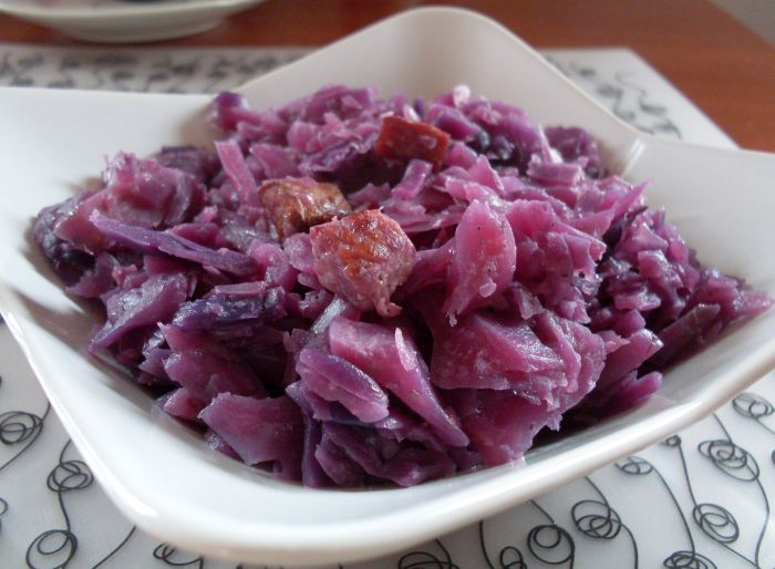 Silesia red cabbage with bacon ... traditional Polish dish ...