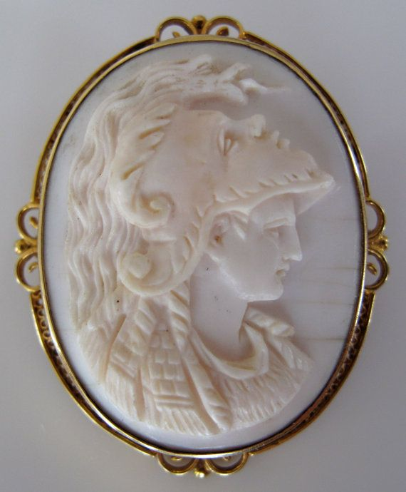 Edwardian Pink Shell Cameo of Athena Minerva by BijouxAndBauble