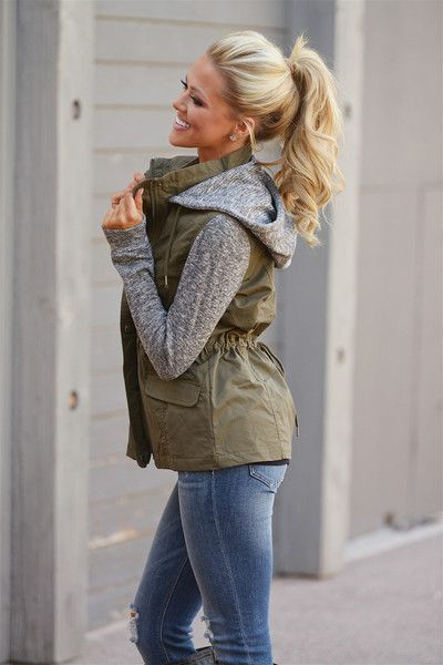 When I'm With You Hooded Jacket - Olive from Closet Candy Boutique #fashion…