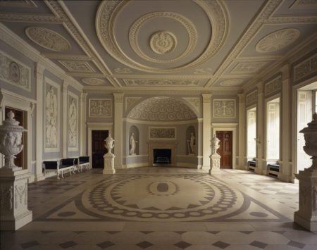 The neoclassical entrance to Osterley Park House, Middlesex, England