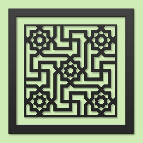 """Alhambra   This design is inspired by architectural elements decorating the interior of the """"Court of the Lions"""" in the famed Alhambra Palace. Built in the 14th century, this palace epitomizes Muslim Spain."""
