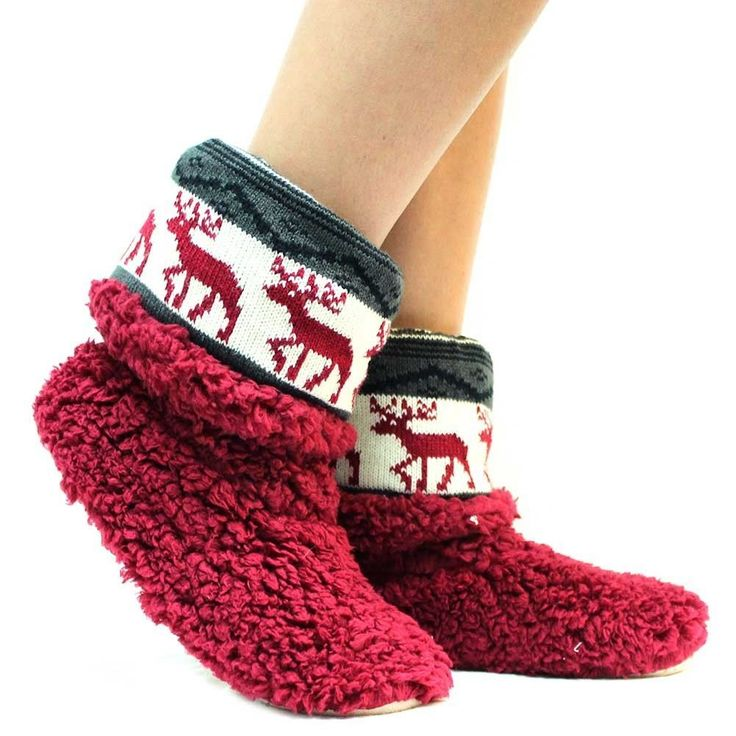 "7 Luxe Red ""Nordic"" Bootie Slippers -Sale"