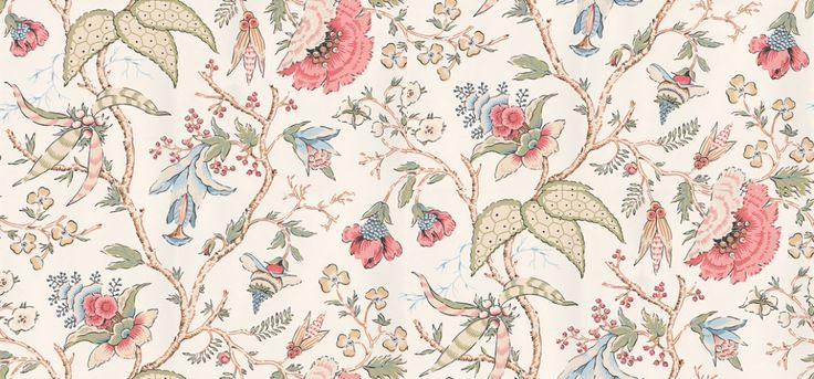 Chinoiserie Floral  (839-T-5366) - Thibaut Wallpapers - A beautiful stylised floral trail in the classic Chinoiserie design - muted, multicoloured on an off white background. Wide width, Vinyl Coated. Please request sample for true colour match. Delivery for this American wallcovering is 7-10 working days.