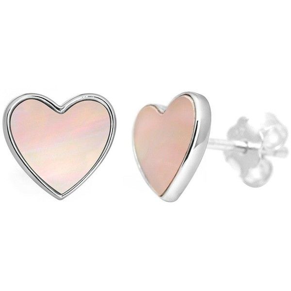 30 Liked On Polyvore Featuring Jewelry Earrings Accessories Stud Heart Shaped Mother Of Pearl Pink And