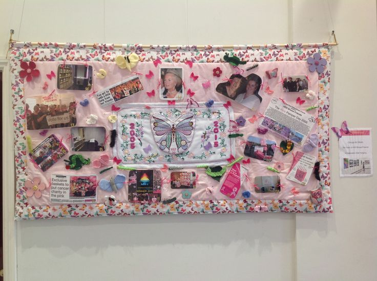 'Ten Years of HER Breast Friends' - A large textile wall hanging, lovingly made by members of our Charity's Craft Group to commemorate the ten years of the Charity.  The group meet on Wednesday afternoons and new members are encouraged to join.