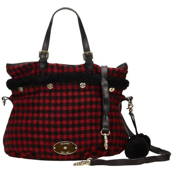 Preowned Mulberry Black Wool Tote Bag ($316) ❤ liked on Polyvore featuring bags, handbags, tote bags, purple, totes, plaid handbag, tote handbags, wool handbags, wool tote and handbags totes