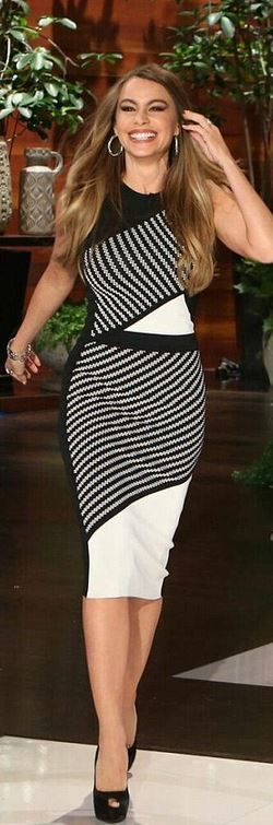 Black and white stripe dress.....................................................