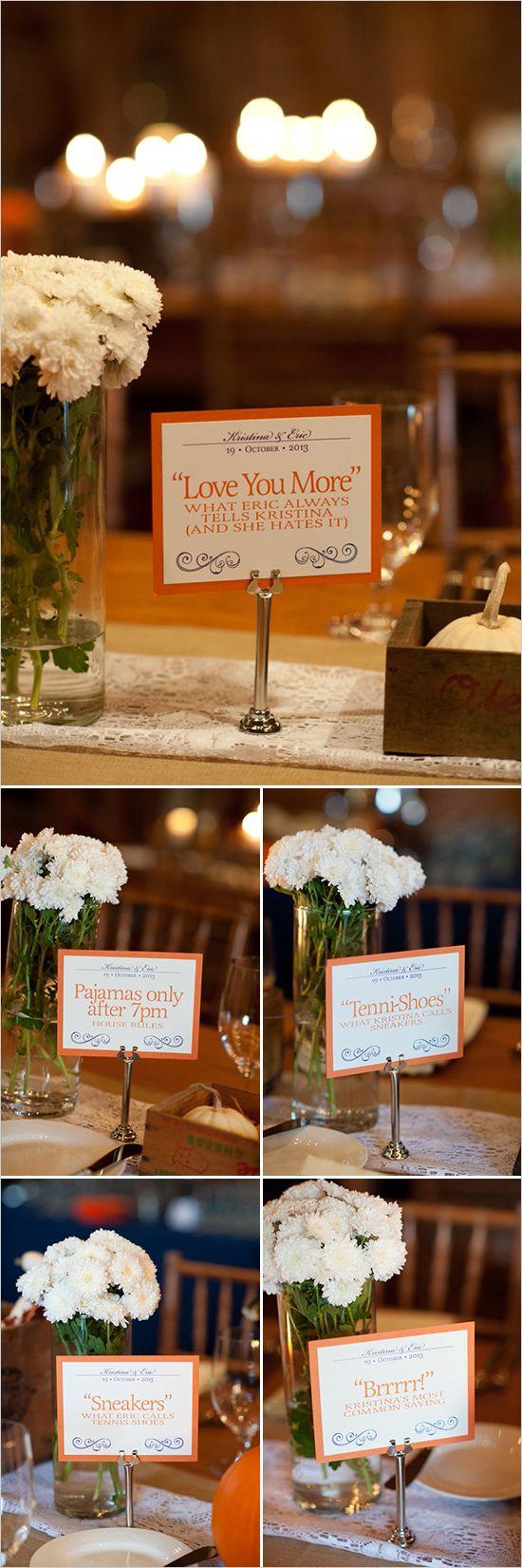 Cute couple sayings as table decor centerpieces. #weddingchicks http://www.weddingchicks.com/2014/06/23/fall-wine-country-wedding/