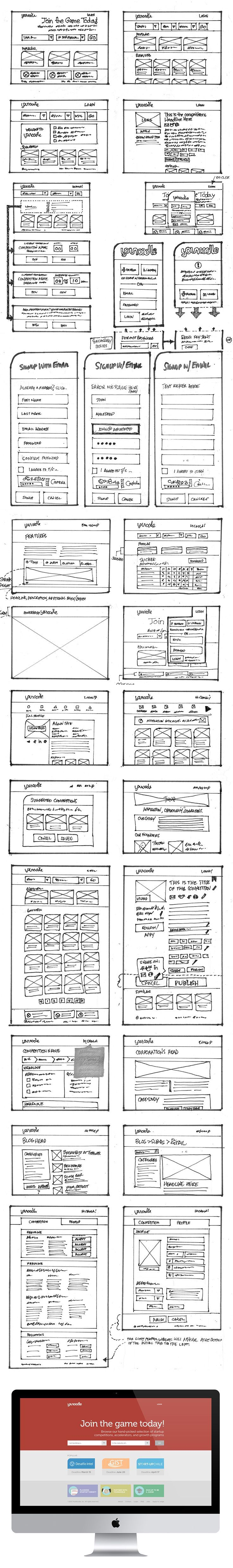 Nearly all of the wireframe sketches for YouNoodle Product merge. UX 07/13. UX. If you like UX, design, or design thinking, check out theuxblog.com podcast https://itunes.apple.com/us/podcast/ux-blog-user-experience-design/id1127946001?mt=2