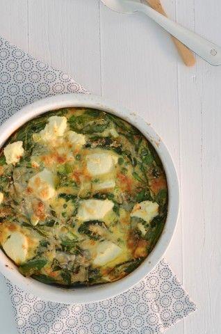 Een lekker en gezond voedselzandloper recept is deze gezonde frittata met spinazie en ricotta kaas.