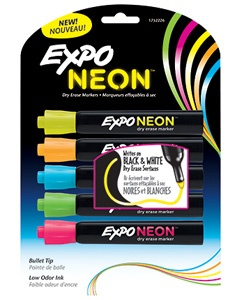 Expo Neon Bullet 5/Pk Pink Orange Yellow Green Blue Carded. $10.36