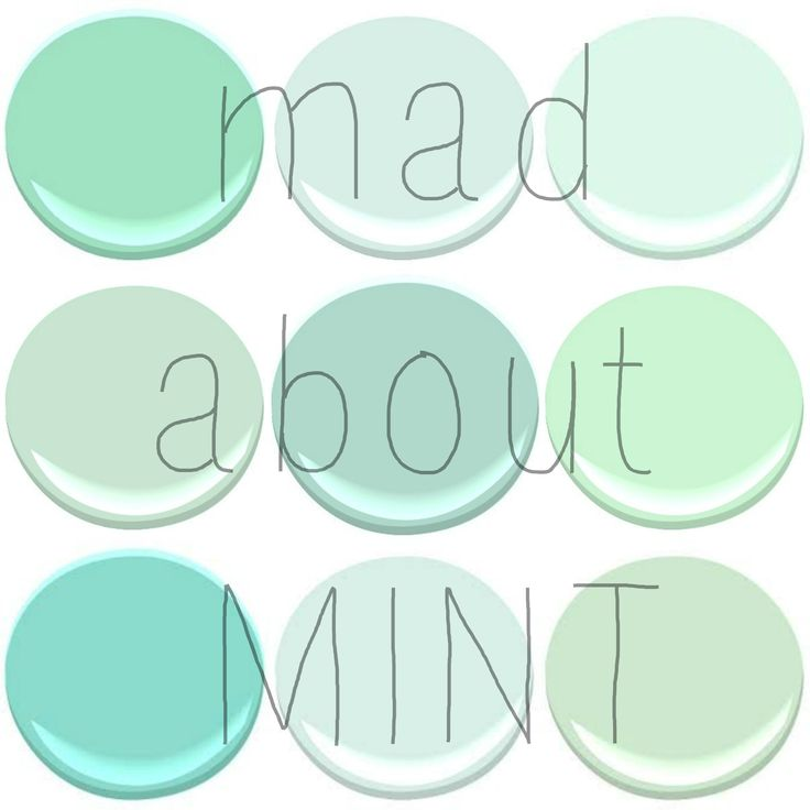 BENJAMIN MOORE : MINT GREEN, SPRING MINT, FRESH MINT, LEISURE GREEN, COPPER PATINA, LIGHT PISTACHIO, SHORE HOUSE GREEN, SOFT MINT, MANTIS GREEN.