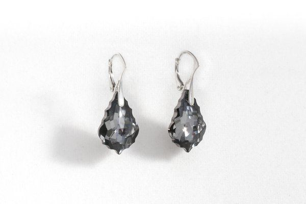 Silver Night Earrings | Made with Swarovski Elements | Red Reticule Collection