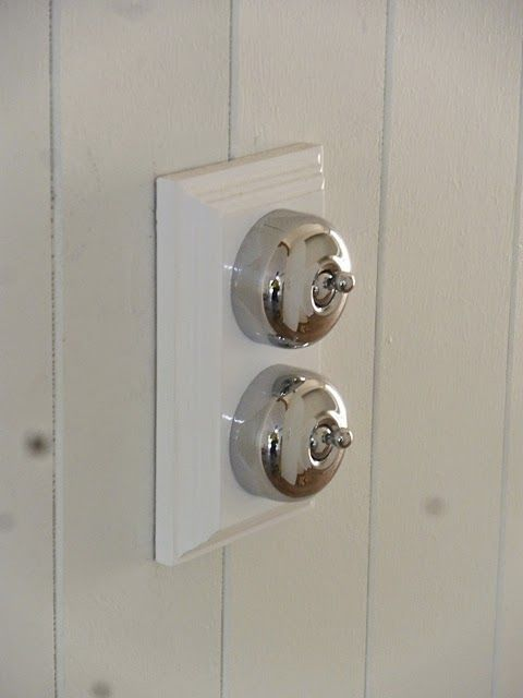 Renovating a Queenslander. Chrome traditional light switch on a timber gang. Traditional Hardware.