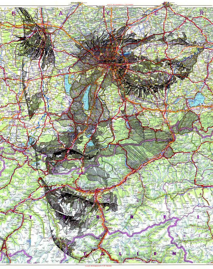 """Ed Fairburn, """"Deutschland,"""" ink on a 1977 road map of Germany. The work I produce is largely figurative, and through the exploration of the human form I examine the patterns and structures which exist across the body. Emphasis is placed on the 'fragmented' texture of the skin, a process which has encouraged my work to evolve from its occupation of plain paper to the potential occupation of other, pre-fragmented or pre-patterned surfaces."""