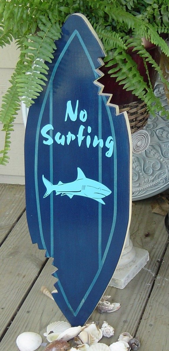 27 inch SHARK  Wall art Beach Sign with Shark Bites. SundayTreasures.etsy.com