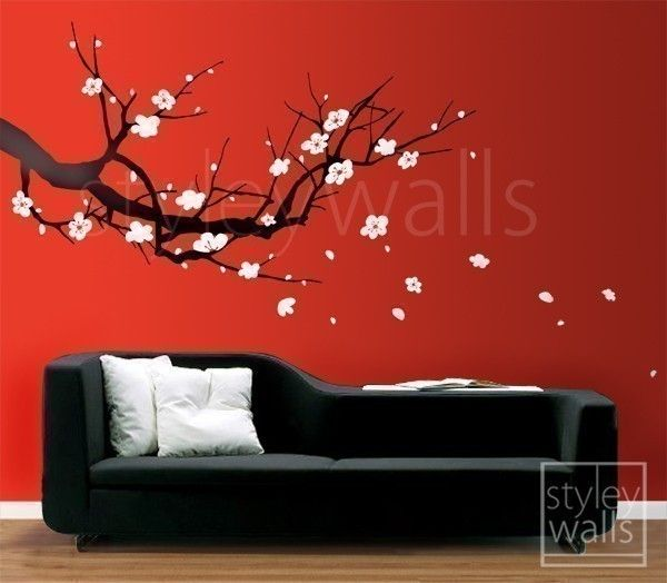 Cherry blossom branch wall decals branch nursery wall for Cherry tree wall mural