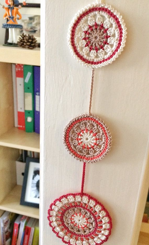 Nectarine and pomegranate mandala crochet wall pendant