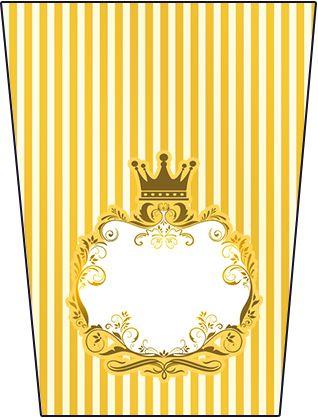 Corona Dorada en Azul y Amarillo: Etiquetas para Candy Buffet para Imprimir Gratis.