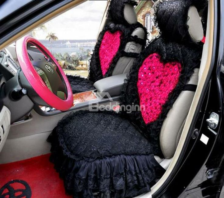 New Arrival High Quality Black And Pink Lace Heart Shape Fashion Seat Cover