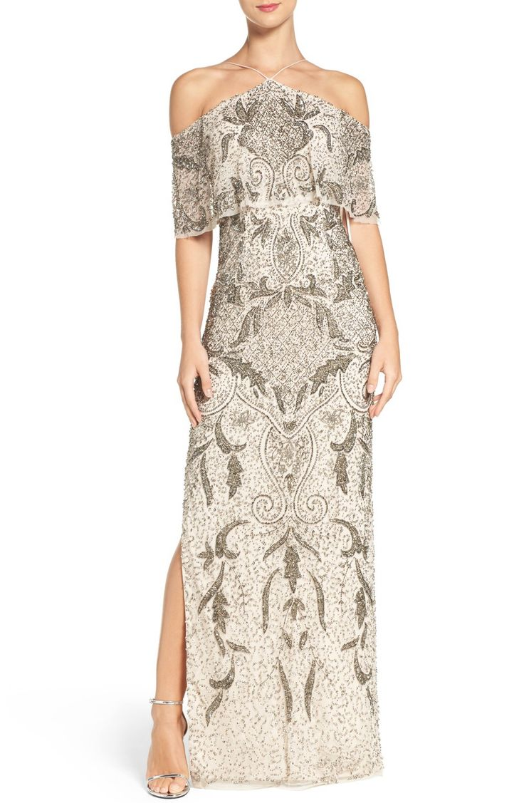 Main Image - Aidan Mattox Embellished Mesh Gown