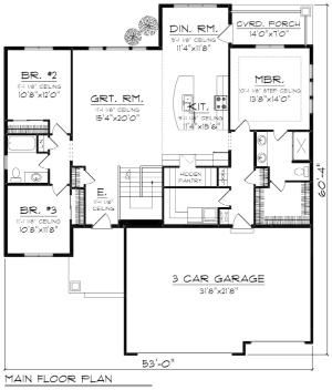 Ranch Style House Plan - 3 Beds 2 Baths 1796 Sq/Ft Plan #70-1243 Floor Plan - Main Floor Plan - Houseplans.com by susanna