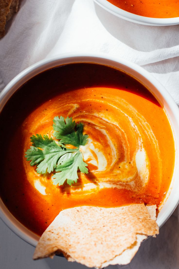 curried tomato soup with turmeric cream — sobremesa | dairy free vegetarian recipes best shared