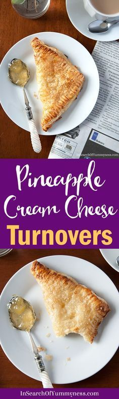 I had no idea that turnovers were so easy to make! I used Tenderflake puff pastry and filled each turnover with pineapple jam and plain cream cheese, yum! Get the #recipe at InSearchOfYummyness.com. #AD
