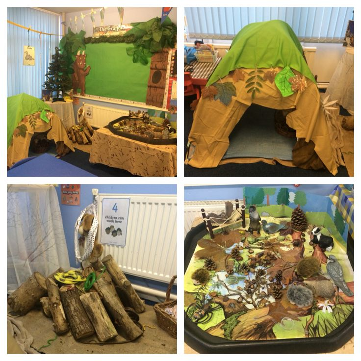Gruffalo role play corner, tuff spot, small world, woodland, animals, toys, logs, trees, tent, investigators, EYFS.
