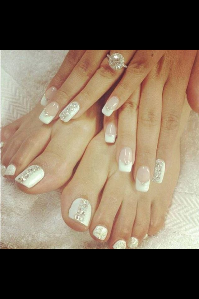 Wedding manicure and matching pedicure design idea. Wedding nails