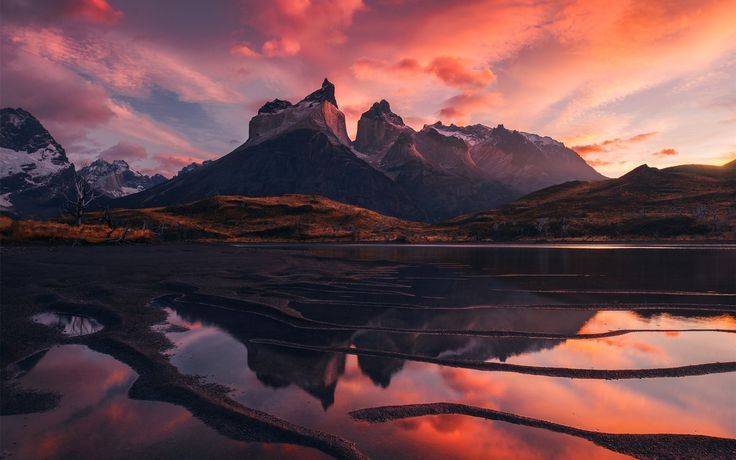 Beautiful Mountain Sunset Clouds Patagonia Beautiful Landscape Mountains Lake Red Sky Clouds Suns Beautiful Landscapes Mountain Sunset Sunset Wallpaper