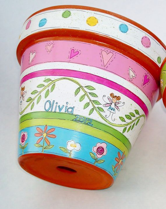 Hand Painted Flower Pot Fairy Love Made to by ThePaintedPine