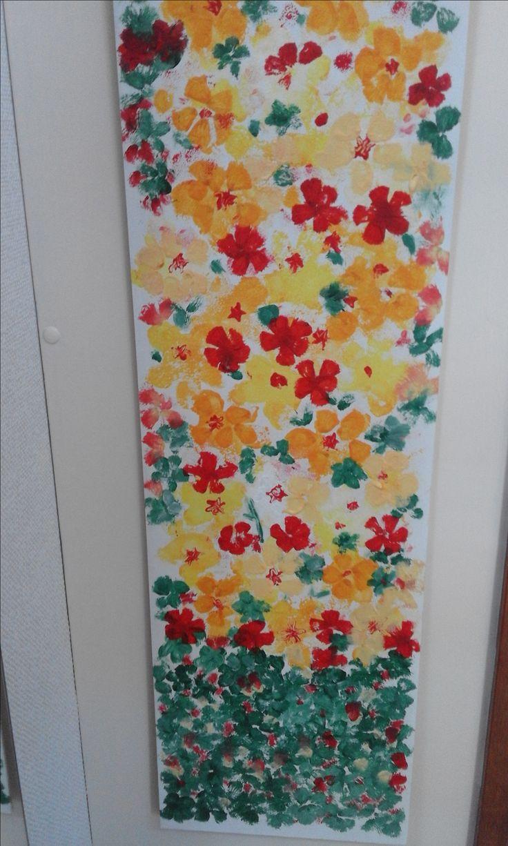 schilderij gemaakt met spons afdruk