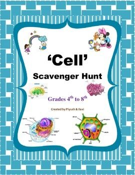Cell Scavenger Hunt This scavenger hunt introduces to students an information and basics about the 'Cell' ,a smallest unit of body. The activity includes both animal cell and plant cell with various structural components presented with number of colorful pictures to understand easily.  There are 26 scavenger hunt cards with colorful pictures. It's a great tool for to review vocabulary on 'Cell'.