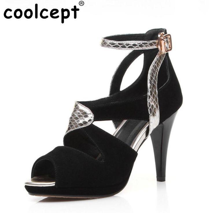 COOLCEPT Mujer Peep Toe Tacon alto Sandalias Strappy Slingback Zapatos (32 EU, Black)