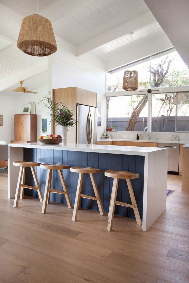 Veneer Designs modern kitchen remodel bohemian boho mod boho California cool organic modern design interiors exposed beam ceiling painted white midcentury