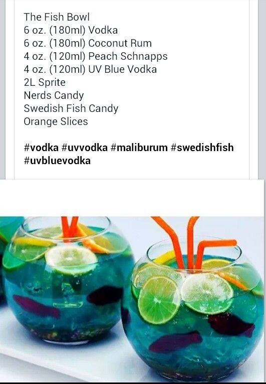 Fish bowl party alcoholic drink for a summer themed party