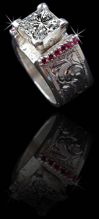 5130 band made and sold online by CowboyJewelers.com (800) 782-2448 Shown here in solid sterling silver featuring a 2 carat princess cut CZ stone and imitation Ruby stones. Available in 14K and genuine diamonds/stones also available wedding, western, western wedding, jewelry, western jewelry, wedding bands, western wedding bands, wedding bands,
