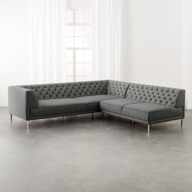 Savile Taylor Grey Tufted Sectional Sofa In 2020 Tufted