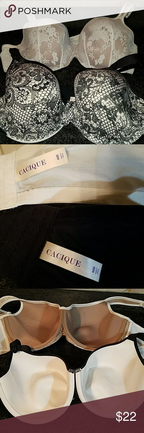 CACIQUE BRAS SIZE 46 D LIKE NEW CONDITION Two Cacique bras size 46 D, both are in like-new condition with no signs of wear and no flaws. These bras are from a clean non-smoking home and are in Primo condition. Cacique Intimates & Sleepwear Bras
