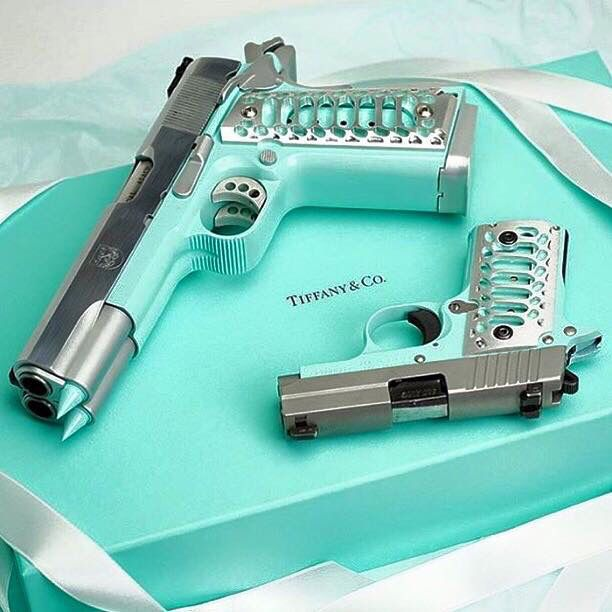 Sig P238 and Double barrel 1911 in Tiffany Blue