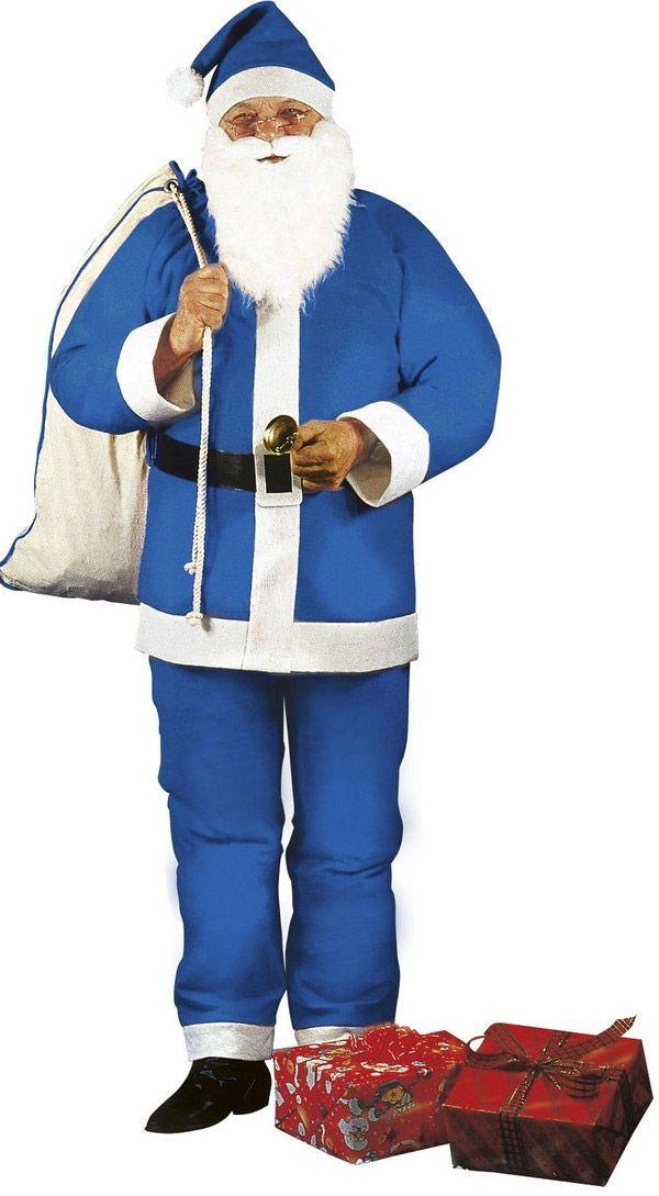 Weihnachtsmann Kostüm blau für Herren