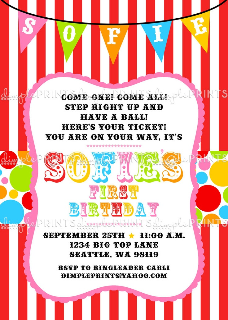 39 best HAPPY BIRTHDAY CARNIVAL images – Free Printable Circus Birthday Invitations
