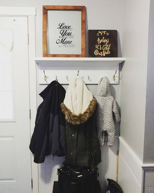 DIY shelf/hook/mudroom for a small space! Playroom in a living room for small spaces