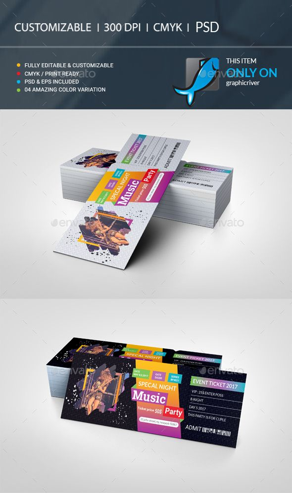 event ticket vip pass cards invites print templates even