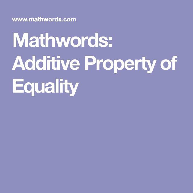 Mathwords: Additive Property of Equality