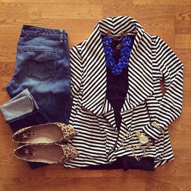 Striped Cardigan, Boyfriend Jeans, Leopard Flats   #weekendwear #casualstyle #liketkit   www.liketk.it/19BMR   IG: @whitecoatwardrobe