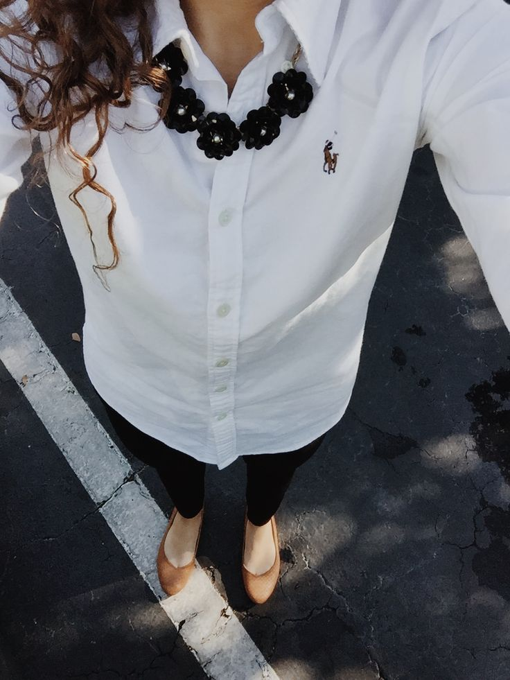 Cute way to wear chunky necklace with a button down.