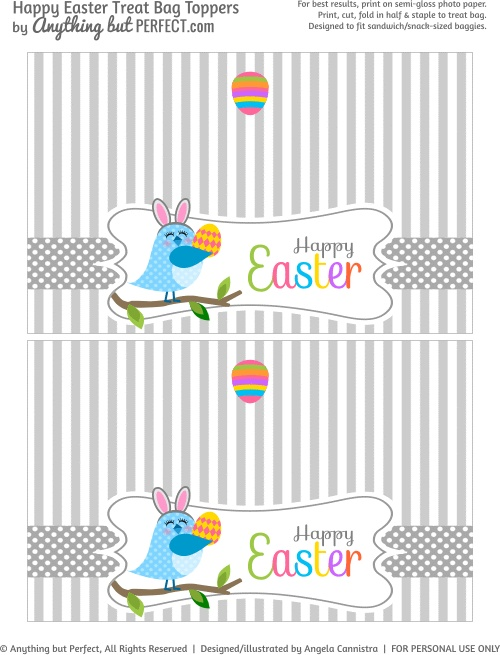 606 best easter paper crafts images on pinterest easter crafts free printable easter treat bag topper negle Images